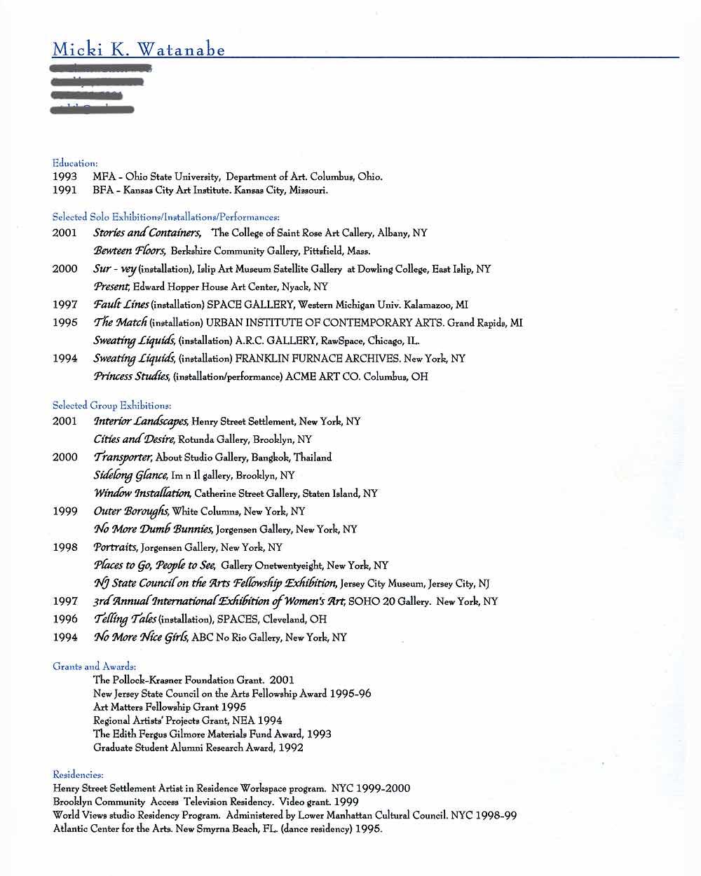 Micki Watanabe Spiller's Artist Resume, pg 1